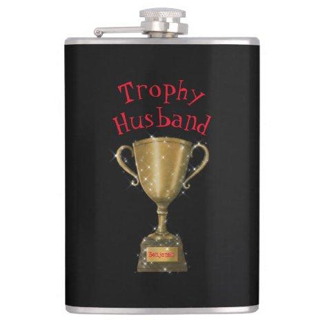 Gold Trophy Husband Monogram Fun Typography Flask
