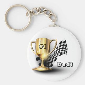Gold Trophy NUmber One Dad Father's Day Keychains