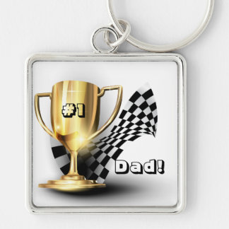 Gold Trophy NUmber One Dad Father's Day Keychain