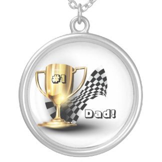 Gold Trophy NUmber One Dad Father's Day Round Pendant Necklace