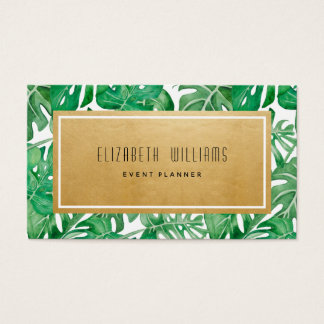 Gold Tropical Event Planner Business Card