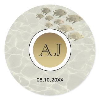Gold Tropical Fish Monogram Wedding Favor Sticker