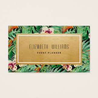 Gold Tropical Flowers Event Planner Business Card