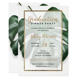 Gold tropical green monstera leaf graduation party card