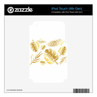 Gold tropical leaves elegant modern pattern design iPod touch 4G skin