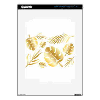 Gold tropical leaves elegant modern pattern design skin for iPad 3