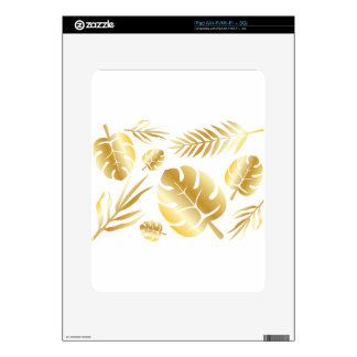 Gold tropical leaves elegant modern pattern design skin for the iPad