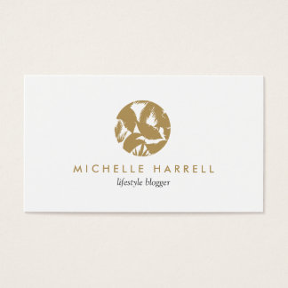 Gold Tropical Leaves Logo Business Card