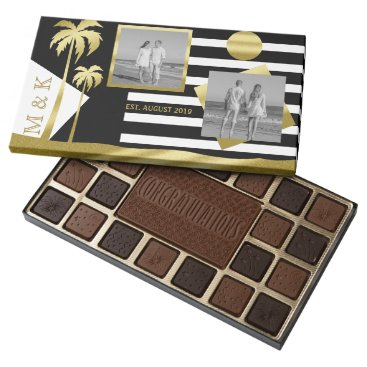 Beach Themed Gold Tropical Palm Trees Beach Instagram Photos 45 Piece Box Of Chocolates