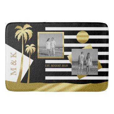 Beach Themed Gold Tropical Palm Trees Beach Instagram Photos Bathroom Mat