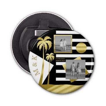 Beach Themed Gold Tropical Palm Trees Beach Instagram Photos Bottle Opener