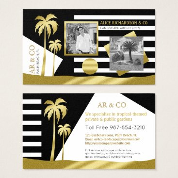 Professional Business Gold Tropical Palm Trees Beach Instagram Photos Business Card