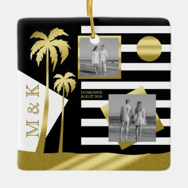 Beach Themed Gold Tropical Palm Trees Beach Instagram Photos Ceramic Ornament