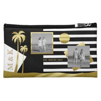 Gold Tropical Palm Trees Beach Instagram Photos Cosmetic Bag