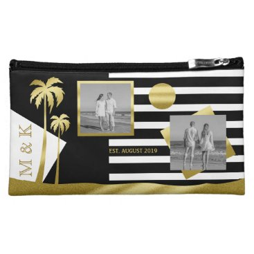 Beach Themed Gold Tropical Palm Trees Beach Instagram Photos Cosmetic Bag