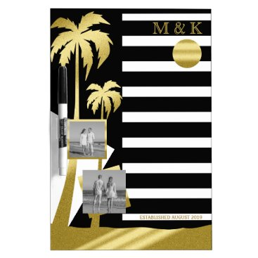 Beach Themed Gold Tropical Palm Trees Beach Instagram Photos Dry-Erase Board