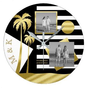 Beach Themed Gold Tropical Palm Trees Beach Instagram Photos Large Clock
