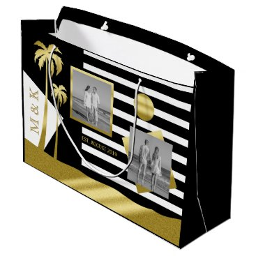 Beach Themed Gold Tropical Palm Trees Beach Instagram Photos Large Gift Bag