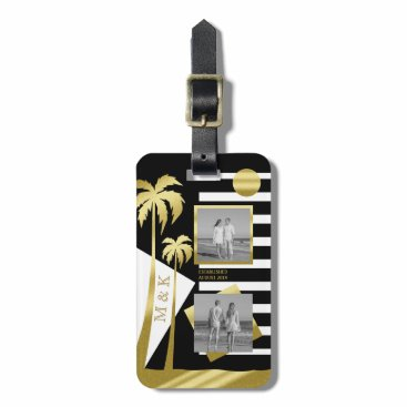 Beach Themed Gold Tropical Palm Trees Beach Instagram Photos Luggage Tag