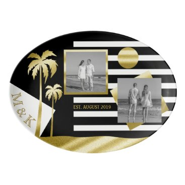 Beach Themed Gold Tropical Palm Trees Beach Instagram Photos Porcelain Serving Platter