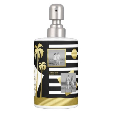 Beach Themed Gold Tropical Palm Trees Beach Instagram Photos Soap Dispenser & Toothbrush Holder