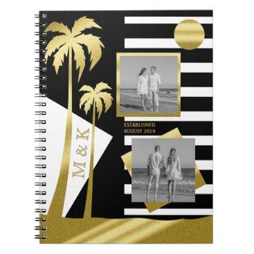 Beach Themed Gold Tropical Palm Trees Beach Instagram Photos Spiral Notebook
