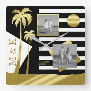 Beach Themed Gold Tropical Palm Trees Beach Instagram Photos Square Wall Clock