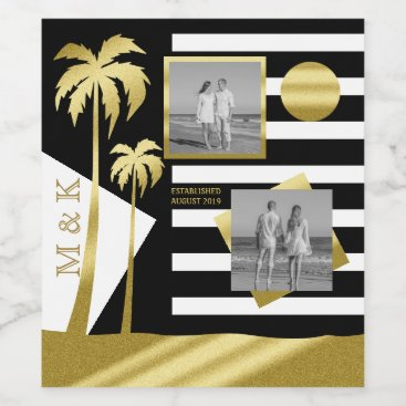 Beach Themed Gold Tropical Palm Trees Beach Instagram Photos Wine Label