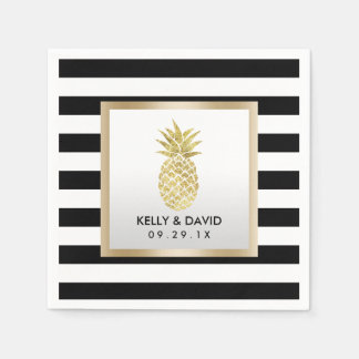 Gold Tropical Pineapple Modern Stripes Wedding Napkin