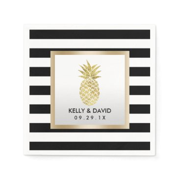 Beach Themed Gold Tropical Pineapple Modern Stripes Wedding Napkin