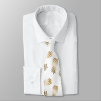 Gold Tropical Pineapple Pattern Aloha Tie