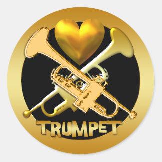 GOLD TRUMPETS CLASSIC ROUND STICKER