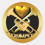 GOLD TRUMPETS ROUND STICKERS