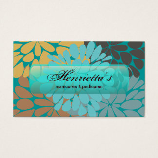 Gold Turquoise Abstract Floral Fine Art Business Card