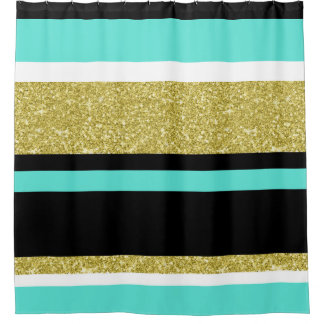 Gold Turquoise Black Stripe Pattern Shower Curtain