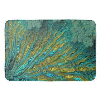 Gold Turquoise Fine Fractal Bath Mat
