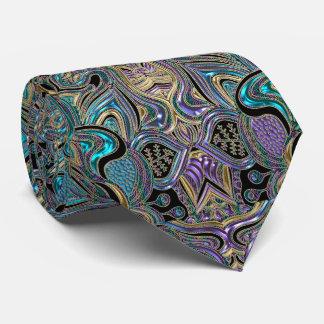 Gold Turquoise Purple Floral Lace Mandala Neck Tie