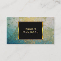 Gold & turquoise stone geode professional business card