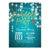 Gold Turquoise String Lights Bachelorette Party Card