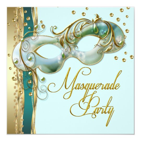 Gold Turquoise Teal Blue Masquerade Party Card