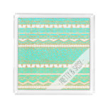 Gold turquoise teal ombre aztec leopard pattern acrylic tray