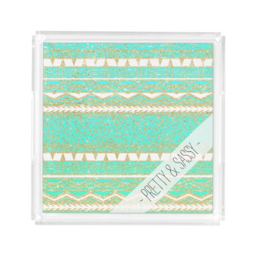 Aztec Themed Gold turquoise teal ombre aztec leopard pattern acrylic tray