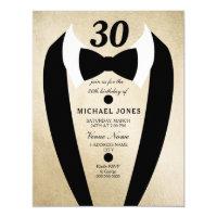 30th birthday invitations announcements zazzle gold tuxedo bow tie mens 30th birthday invite filmwisefo