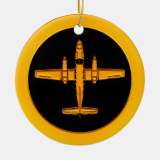 Gold Twin Prop Airplane Ceramic Ornament