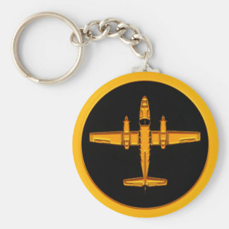 Gold Twin Prop Airplane Keychain