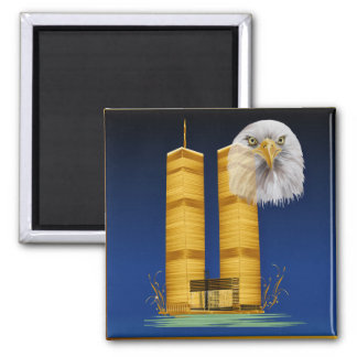Gold Twin Towers and Eagle Magnet