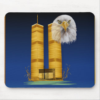 Gold Twin Towers and Eagle Mousepad