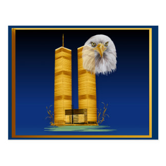 Gold Twin Towers and Eagle Postcards