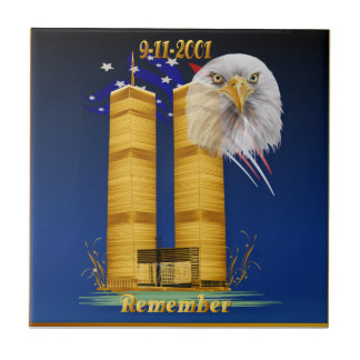 Gold Twin Towers, Eagle n Flag Ceramic Tile