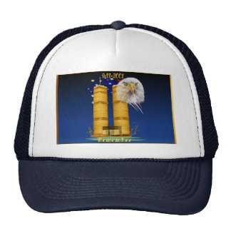 Gold Twin Towers, Eagle n Flag  Hats